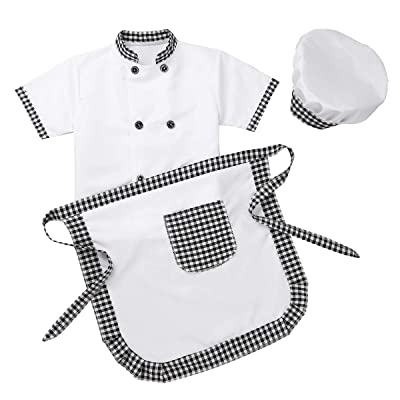 YiZYiF Unisex Kids Child Classic Master Chef Costume Dress up Cosplay Party Short Sleeves Jacket with Apron and Hat 3Pcs Set: Clothing