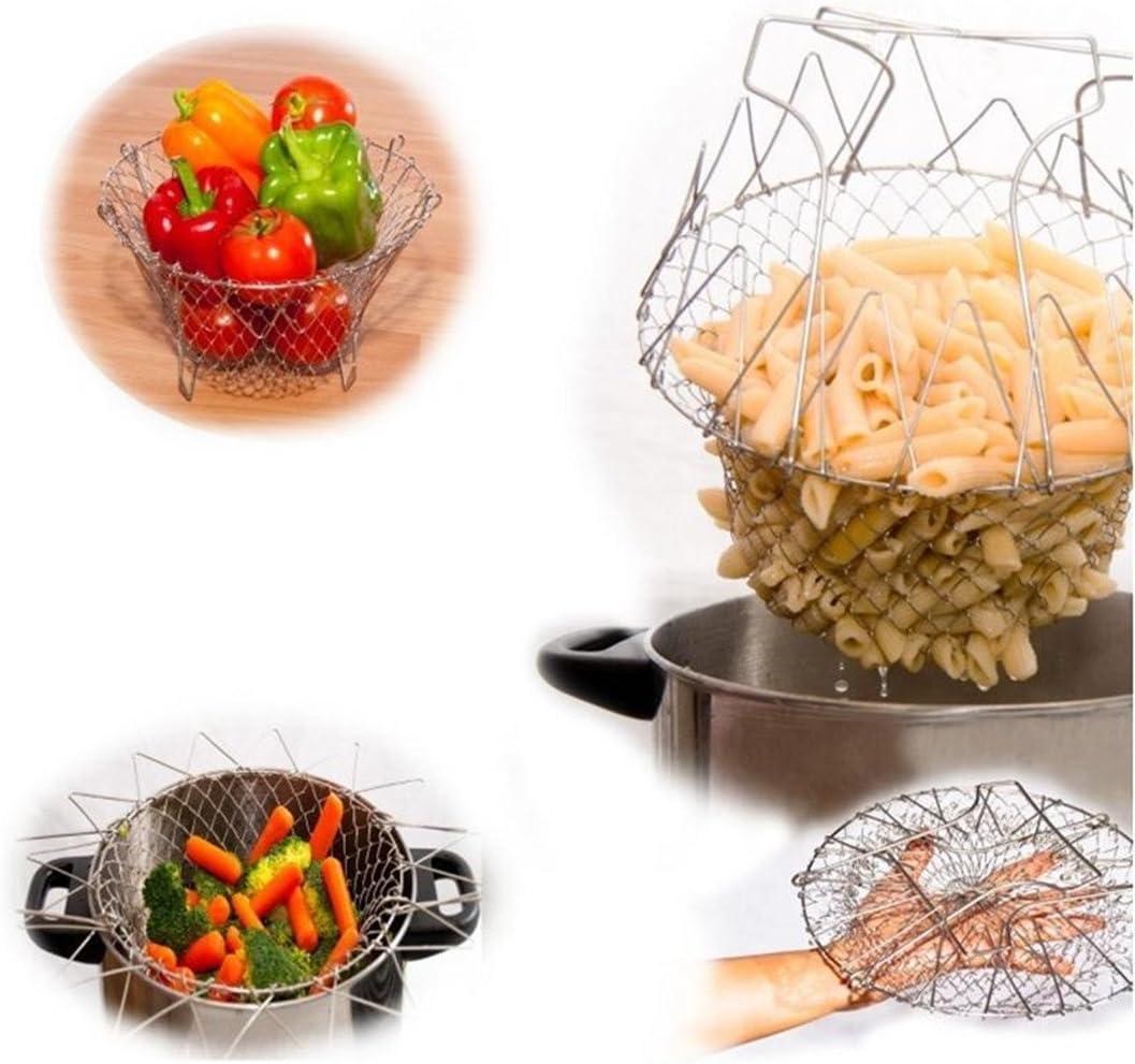 Strain und Lagerung Kochen Korb Chef-Kochen Dampf Sp/ülen Bratkorb Netz,Edelstahl Faltbare New K/üchenhilfe 9.4 x 5.5in Professionell f/ür Easy Fry