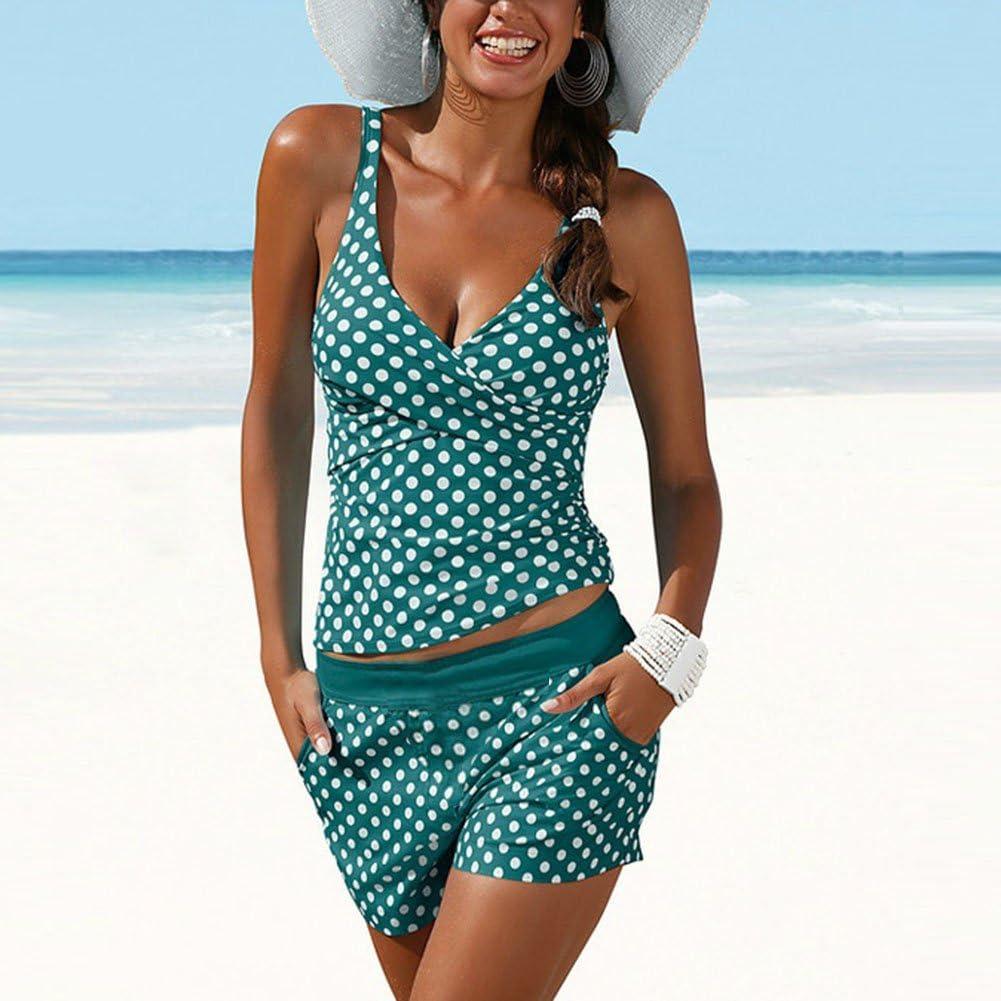 Hose Schwarz//Gr/ün S M L XL XXL Juleya Damen Tupfen Tankini Sets V-Ausschnitt Badeanzug Bikini Top