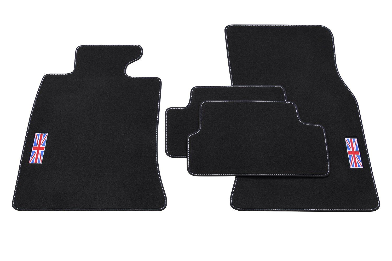 teileplus24 502 Set de Tapis de Sol Exclusive Union Jack avec Bordure en Caoutchouc et Coutures d/écoratives