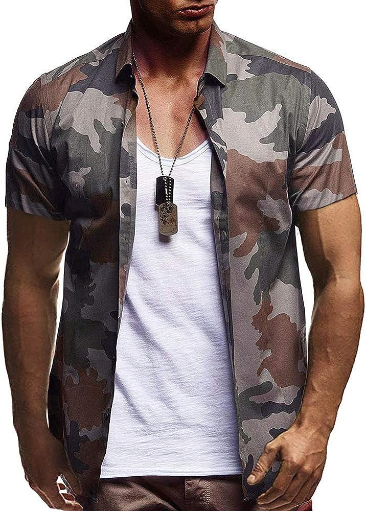 Camisa Hawaiana Hombre Mezcla De Algodon Camisa De Manga Corta Camuflaje Verde del Ejército Camo Shirt, Armygreen, L: Amazon.es: Ropa y accesorios