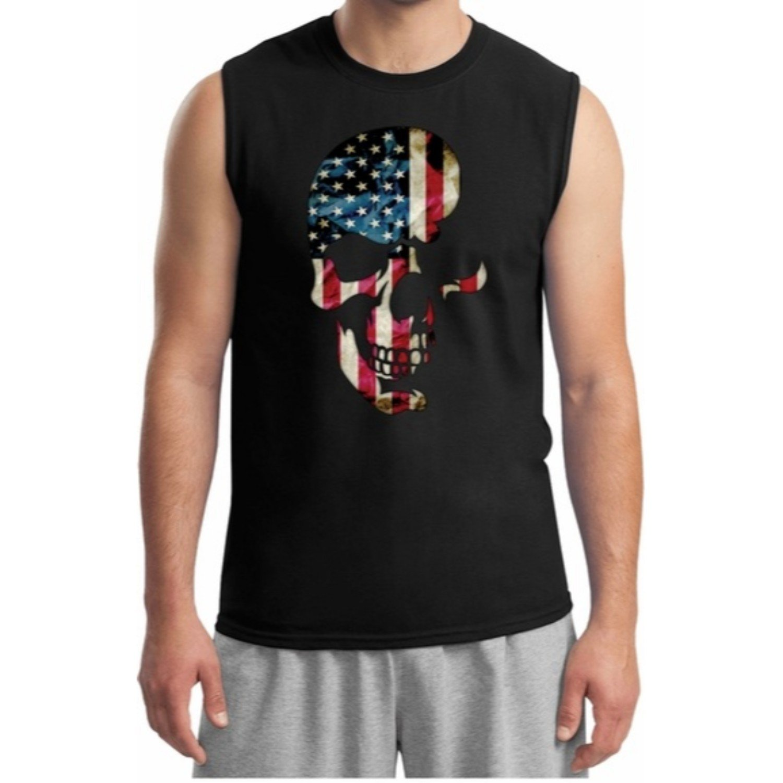 Lucky Ride Skull Americana S Muscle Shirt Sleeveless Tee Workout Gym Shirt 3047