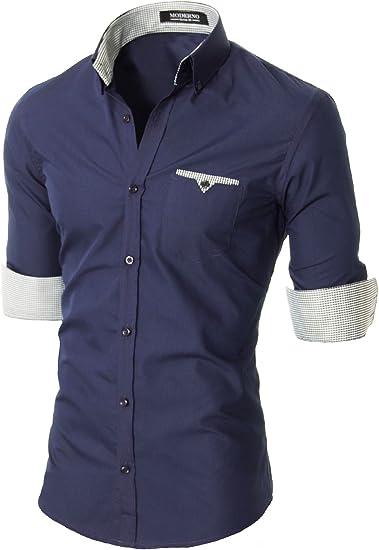Moderno – Camisa de manga larga para hombre – Slim Fit – (VGD063LS) azul VGD063LS-Navy XL: Amazon.es: Ropa y accesorios