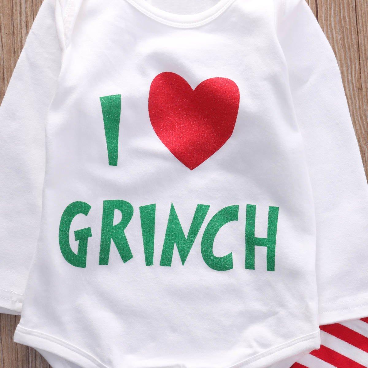 df0a8362e521 Infant Baby Girls I Love Grinch Letter Bodysuit Romper Striped Leg Warmer  2Pcs Christmas Outfits Best