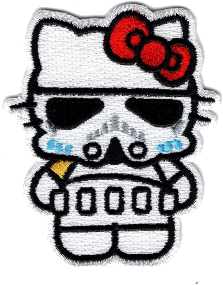 Hello Kitty Storm Trooper Empire Iron ON Patch WHT