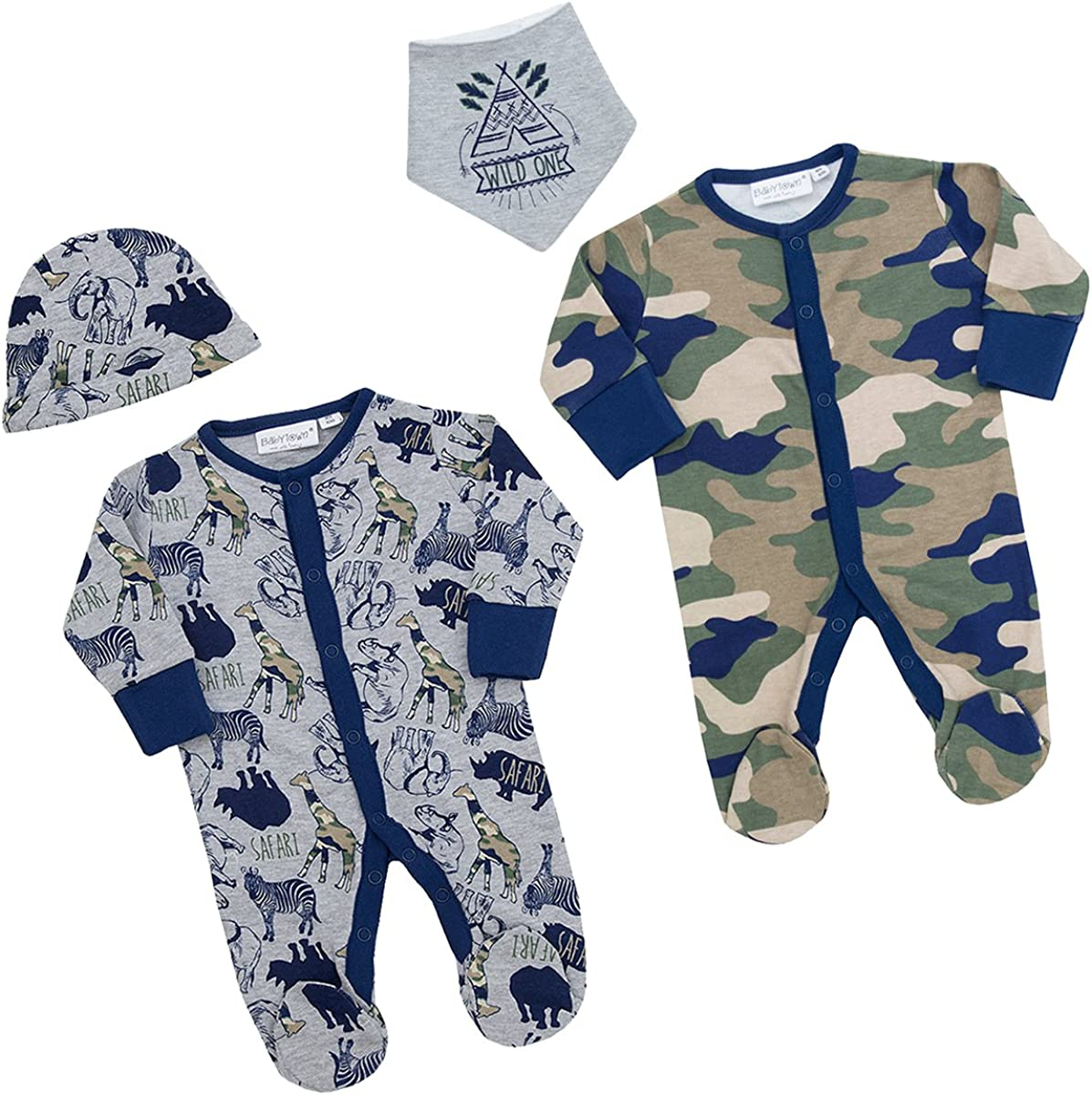 BABY TOWN Baby Boys Camo Safari Sleepsuit Newborn-9 Months Integrated Scratch Mittens Cotton Rich All-in-One