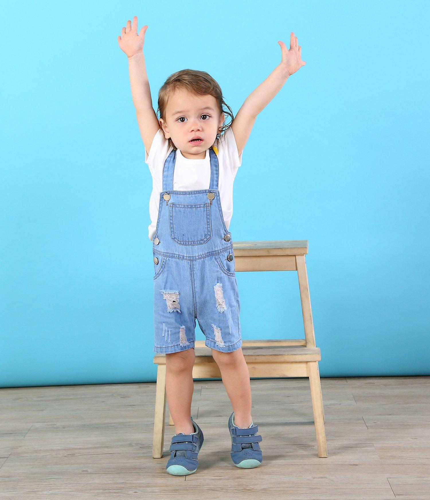 Kidscool Baby & Toddler Girls/Boys Big Bibs Ripped Hole Summer Jeans Shortalls,Light Blue,4-5 Years by Kidscool (Image #4)