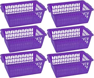 YBM HOME Plastic Perforated Storage Basket Bin Office Drawer, Shelf Desktop Countertop Tray Organizer 32-1188 (6, Purple)