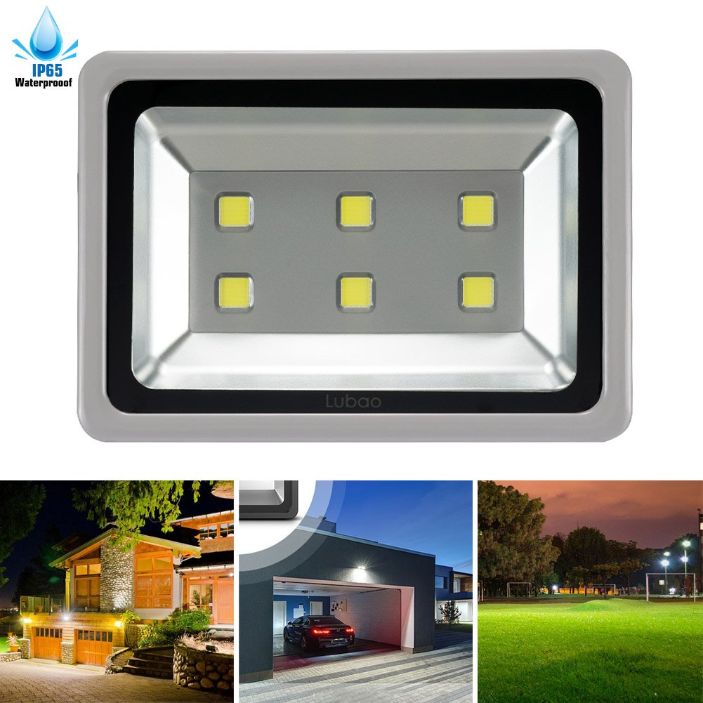 LuBao 300W Led Flood Light 6 led lights 30000lm Waterproof Super Bright 6000K White Light Spotlights Flood Lamp,120-Degree Beam Angle Wall Lights for Outdoor Garden Landscape Playground