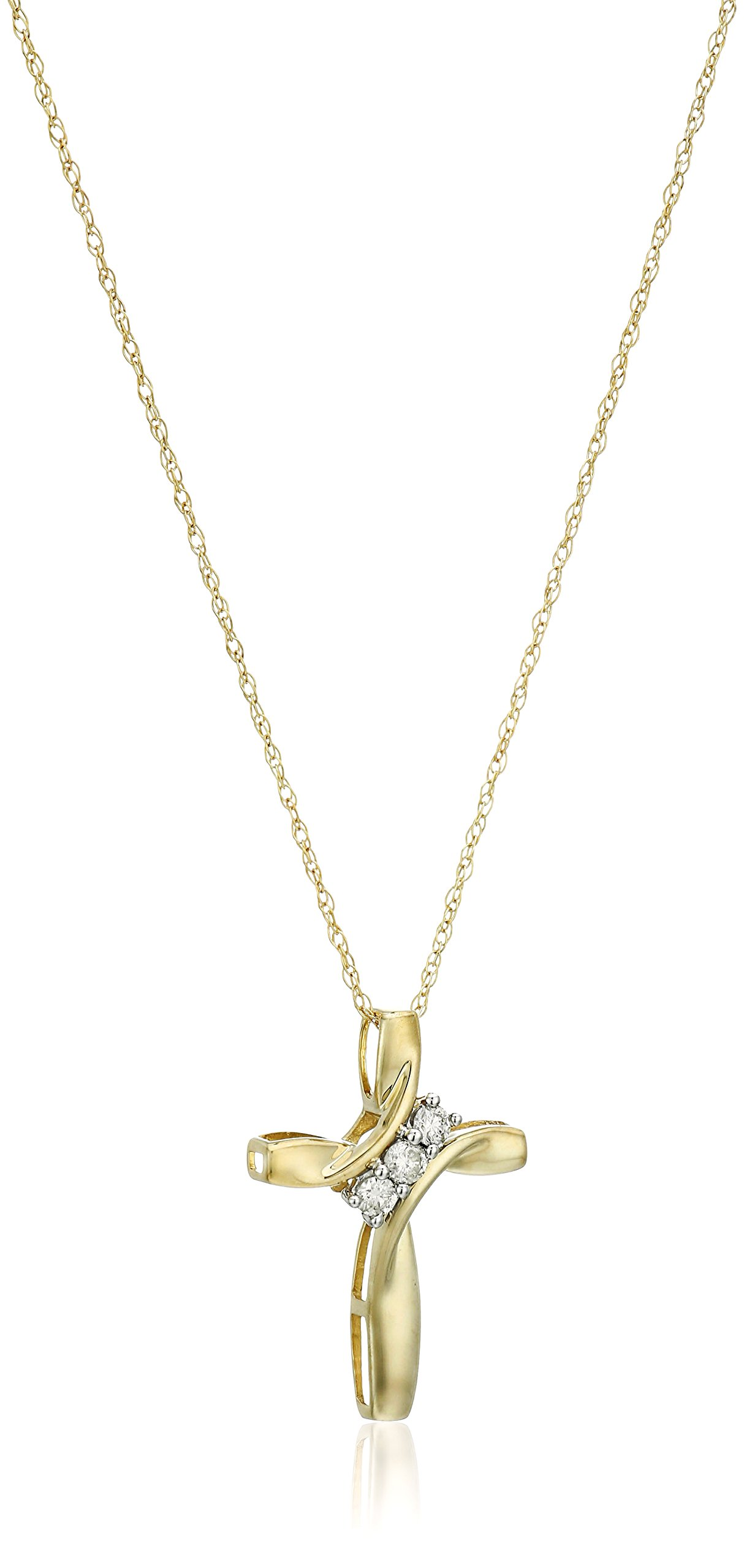10k Yellow Gold Three-Diamond Cross Pendant Necklace (1/10 cttw, I-J Color, I2-I3 Clarity), 18'' by Amazon Collection (Image #1)