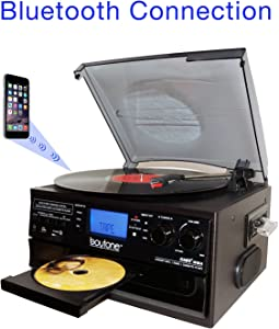 Boytone BT-22B, Bluetooth Record Player Turntable, AM/FM Radio, Cassette, CD Player, 2 Built in Speaker, Ability to Convert Vinyl, Radio, Cassette, CD to MP3 Without a Computer, SD Slot, USB, AUX