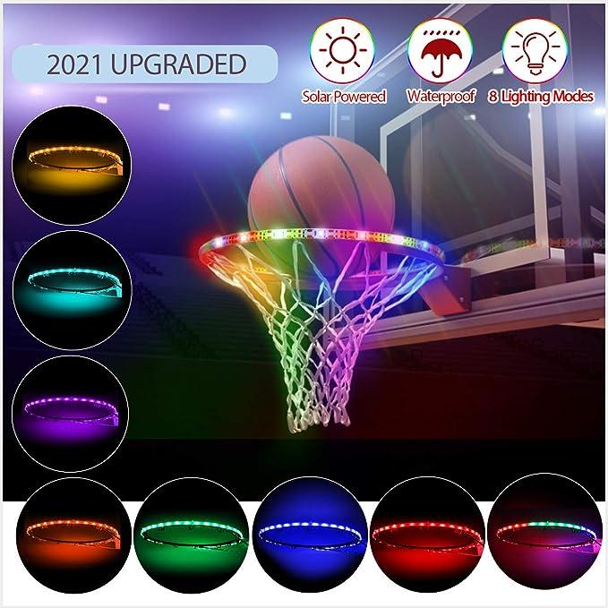 Colorful LED Light Basketball Rim Hoop Sensor-activated Solar Strip Lamp US