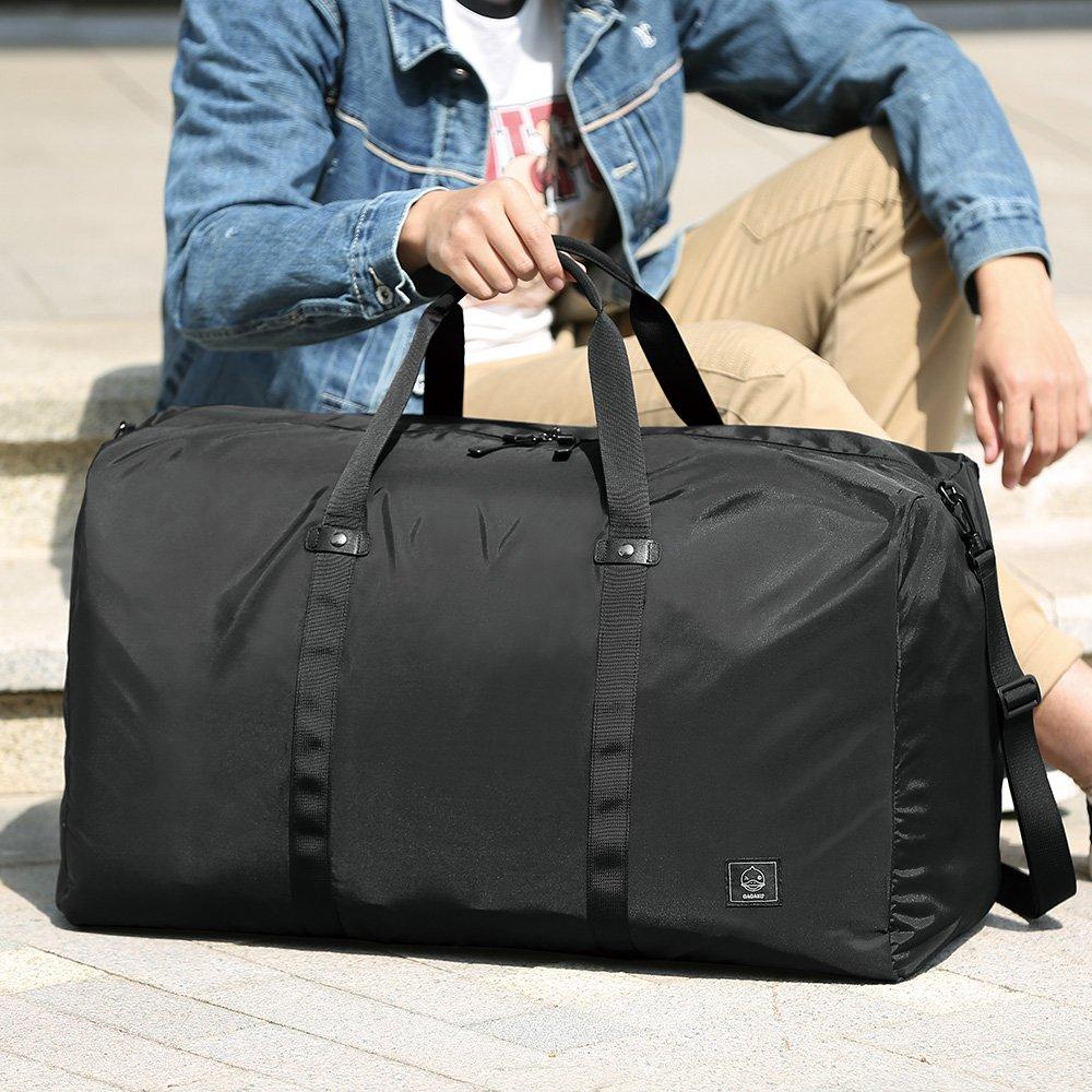 GAGAKU 80L Foldable Travel Duffel Bag Packable Lightweight Duffle Large Flight Cabin Bags for Travel - Black by GAGAKU (Image #4)
