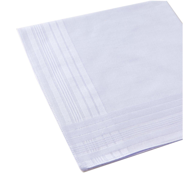 Mens Pure White 100/% Cotton Handkerchief Pack of 6