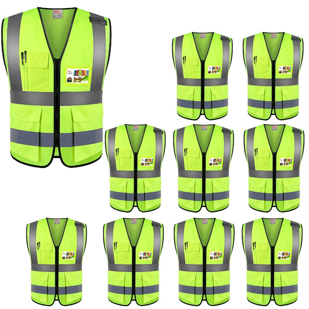ZOJO High Visibility Reflective Vests,Lightweight Mesh Fabric, Wholesale Safety Vest for Outdoor Works, Cycling, Jogging,Walking,Sports-Fits for Men and Women (Pack of 10, Neon Yellow) by zojo (Image #1)