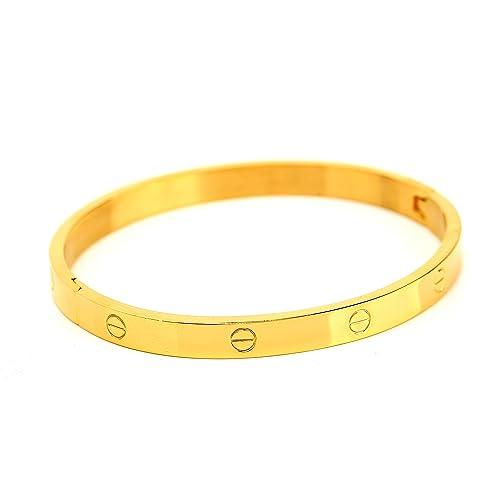 673c89ad45ef2b United Elegance - Trendy Oval Gold Tone Screw Like Design Hinged Bangle  Bracelet