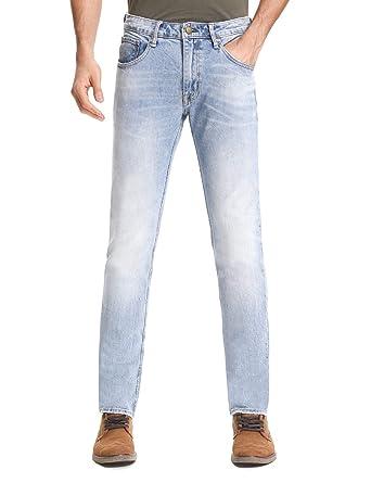 5d3570d6 D-ID Men's Slim Fit Jeans Light Blue Faded Slim-Fit Straight Original Fit