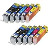 Lot de 10 cartouches d'encre pGI550XL cLI551XL pour canon avec puce et indicateur de niveau de remplissage pour canon pixma iP7250, iP7200 mG5400 mG5500, mG5550 mG5600 mG5650, mG5655 et cLI551BK remplace les modèles pGI550BK, cLI551C, cLI551M, cLI551Y