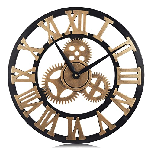 PUMERIT Vintage Gear Wall Clock 3D Retro Non-Ticking Wood Clock Rustic Style for Living Room Hotel Restaurant Decoration 15.7 Inch