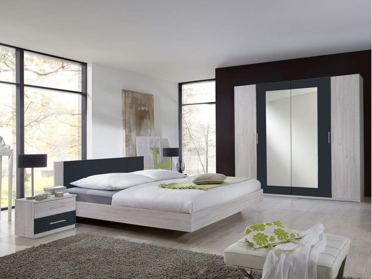 moebel-eins Flores I Komplett-Schlafzimmer, Material Dekorspanplatte, 180 x 200 cm, weisseichefarbig/anthrazit