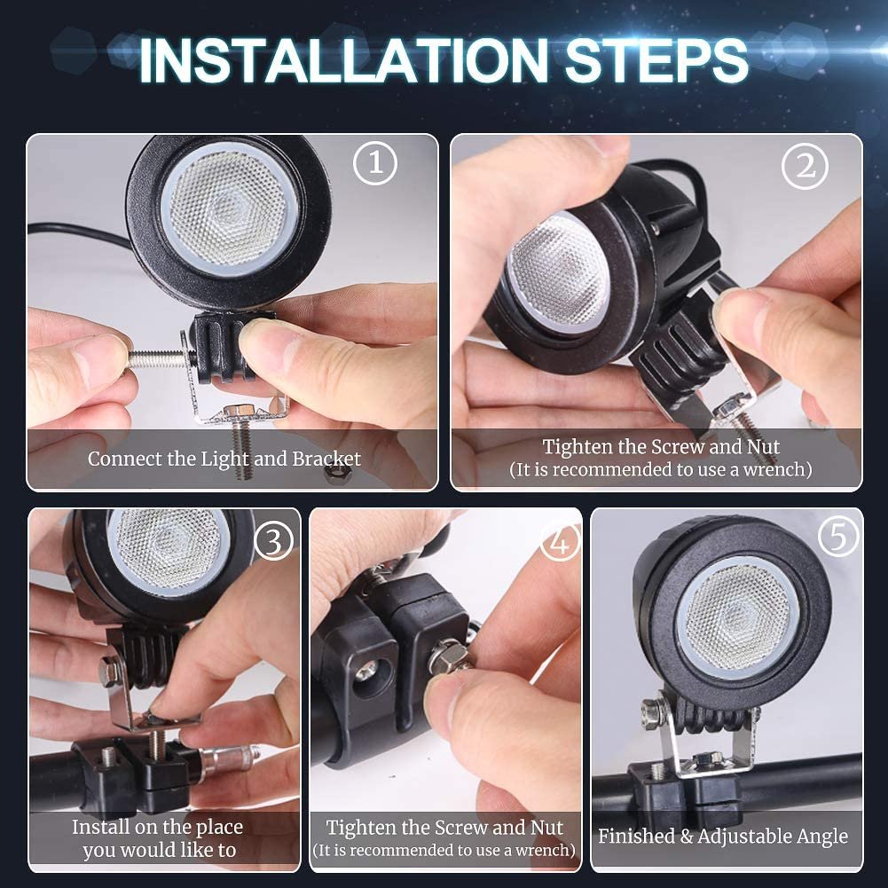 Ourbest Motorcycle Driving Lights,10W 2inch LED Dirt Bike Fog Lights for Harley Yamaha Motorbike Accent Off Road Lighting: Automotive