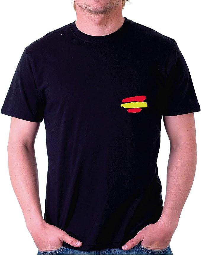 Custom Vinyl Camiseta Bandera España (Negro, L) : Amazon.es ...