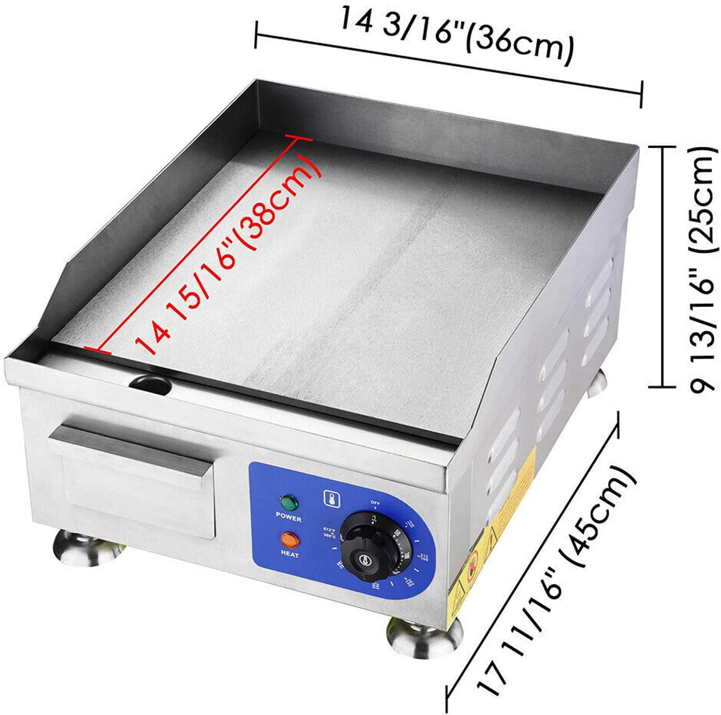 ALDKitchen Electric Countertop Griddle Stainless Steel Adjustable Temp Control Commercial Restaurant Grill Plaine