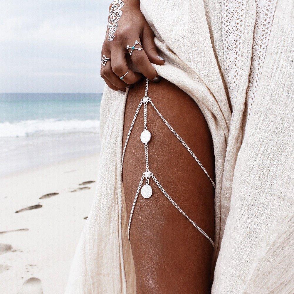 Retro Joyerí a Lady monedas borla multicapa de cuerpo muslo pierna cadena Bikini desgaste Ruiminou