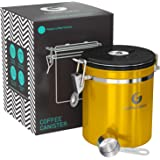Coffee Gator Stainless Steel Container - Canister with co2 Valve and Scoop (Gold, Medium)