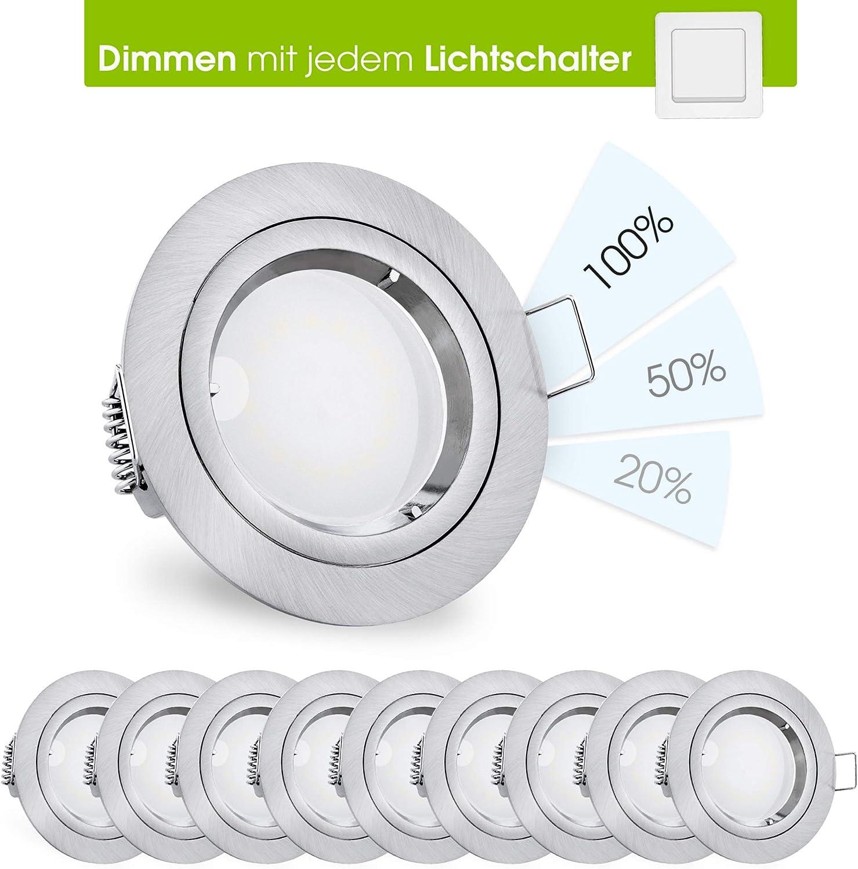 linovum® fourSTEP LED Einbauleuchte 10er Set dimmen ohne Dimmer - Decken Spot weiß lackiert rund neutralweiß 4000K 5W 230V 10er-set - Edelstahl Optik