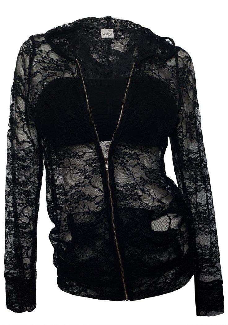 eVogues Plus Size Lace Zipper Front Hoodie Top Black - 1X