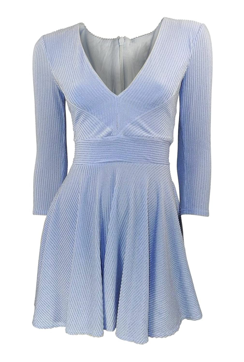 Topshop Pale Blue Fit & Flare Skater Dress with Silver Lurex Stripes ...