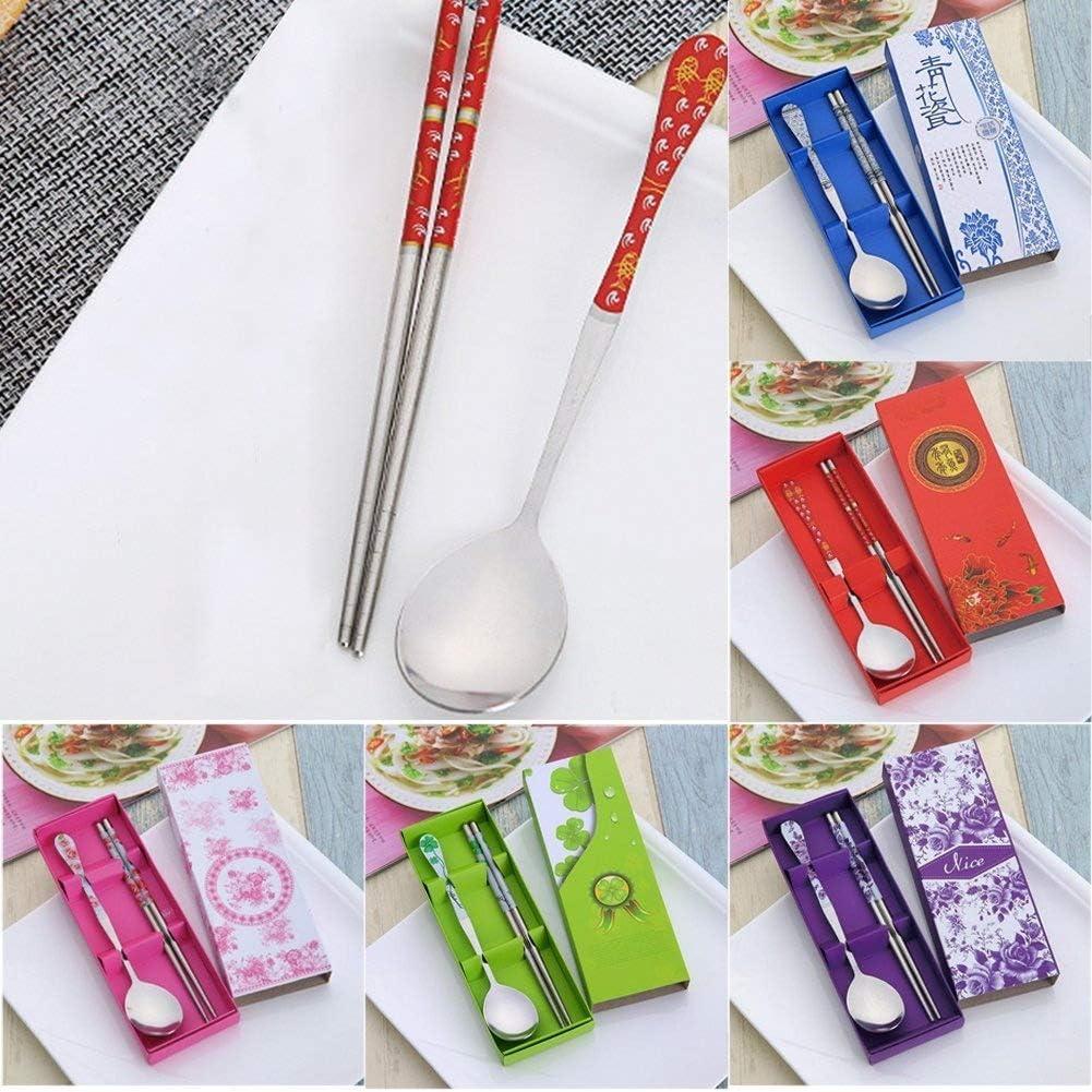 Kit cuchara y palillos de acero inoxidable/ /Art/ículos de mesa o A5 talla abierta azul /Hoja Verde/