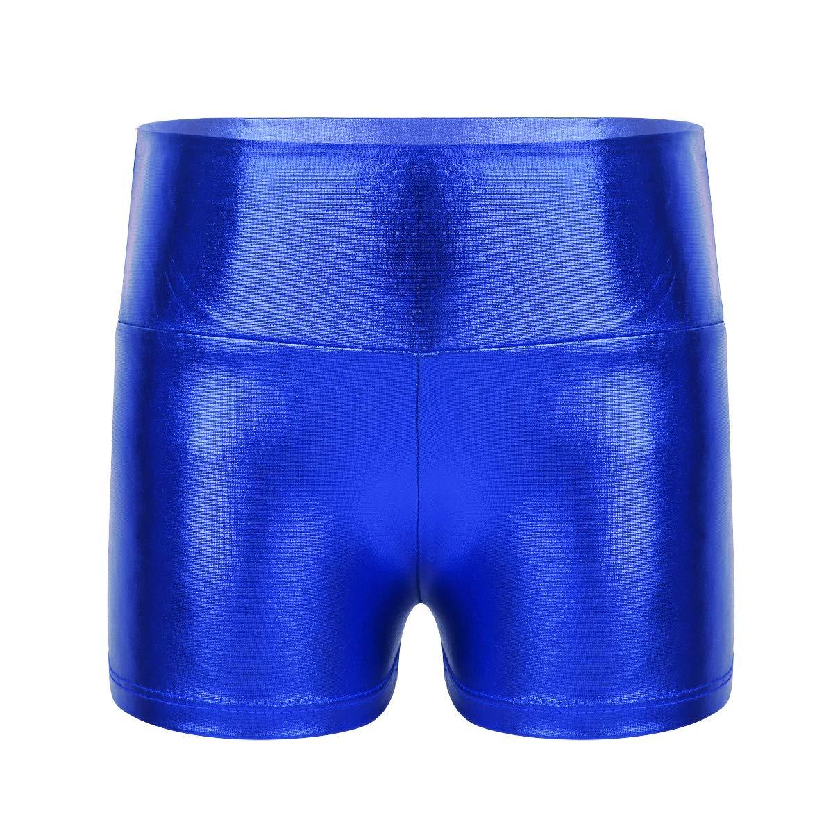 Agoky Kids Girls Metallic Shiny Gymnastics Workout Yoga Dance Sports Shorts Bottoms Blue 6