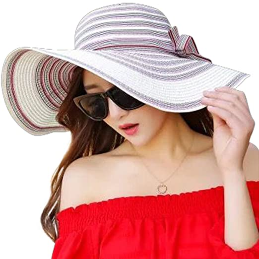Lanzom Womens Colorful Bowknot Straw Hat Foldable Roll up Sun Hat Beach Cap  UPF 50+ (Ivory White) at Amazon Women s Clothing store  a3b7938dfb58