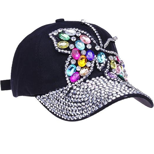 e97be6f76e1 CRUOXIBB Black Baseball Cap Women Bling Butterfly Hat Rhinestone Snapback Caps  Hat (Blue 1)