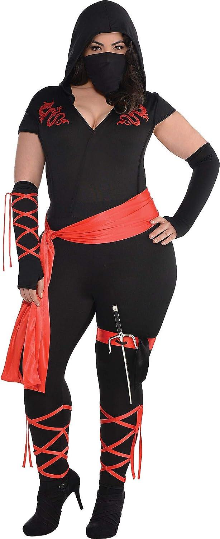 AMSCAN Adult Costume, Dragon Fighter Ninja, Plus XXL (18-20), 1 Set