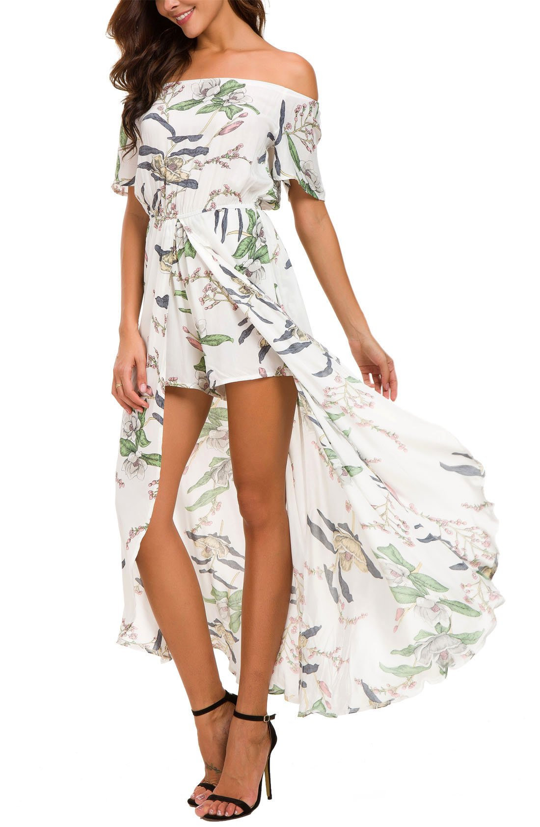 KorMei Womens Off Shoulder Short Sleeeve Floral Rayon Party Split Maxi Romper Dress XS White