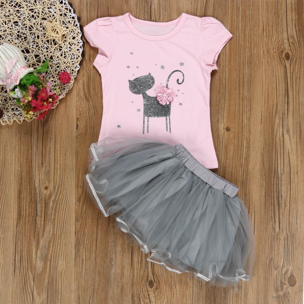 Gonna di Garza Vestito da Principessa Impostato BYSTE Abito Bambina Ragazze Abiti Gatti 3D Fiori Manica Corta T-Shirt
