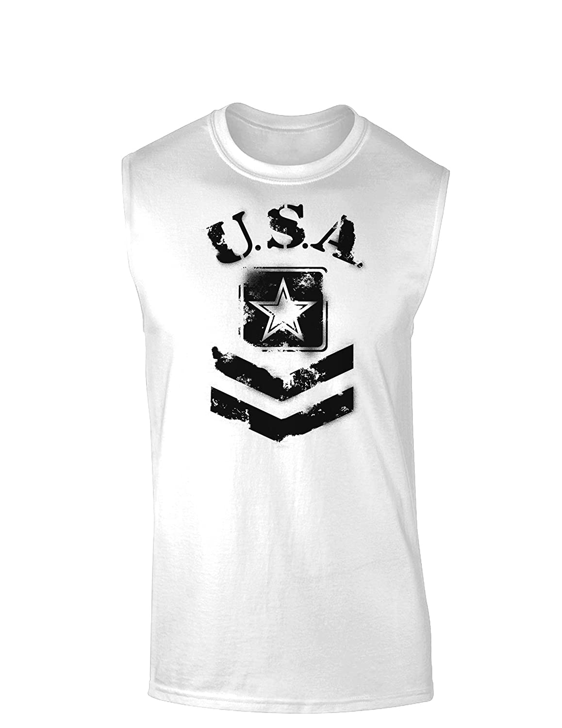 TooLoud USA Military Army Stencil Logo Muscle Shirt