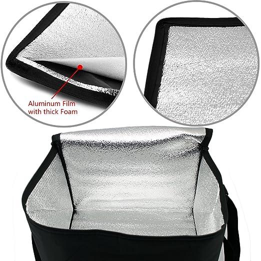 WOSON 2x 20L Bolsa Térmica Porta Alimentos Nevera Portátil para Enfriamiento Alimentos Almuerzo Lunch Bag (20Lx2-Black): Amazon.es: Hogar