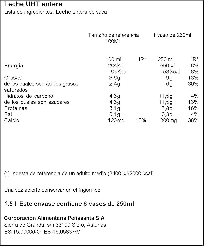 Central Lechera Asturiana - Leche UHT Entera - Botella 1,5 L: Amazon.es: Alimentación y bebidas