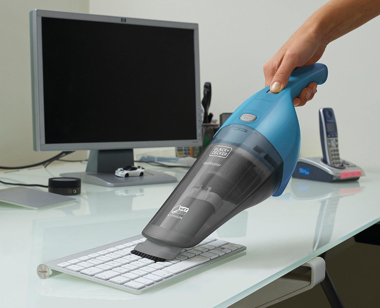 3.6 V 7.5 W Capacidad 370 ml Transparente Aspirador de Mano Inal/ámbrico para L/íquidos y S/ólidos Tecnolog/ía de Carga Eco Inteligente Black+Decker WDB115WA-QW Azul