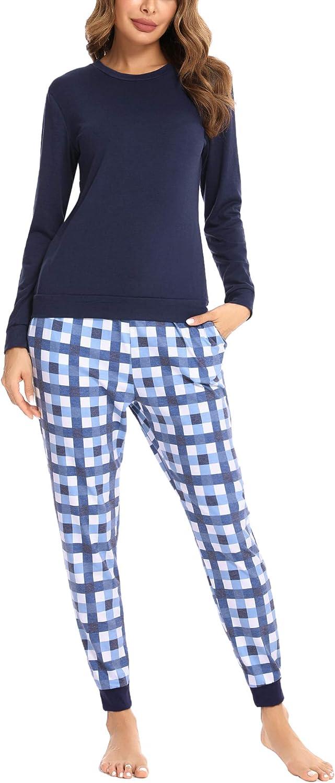 Hawiton Pijamas Mujer Invierno de Algod/ón Mangas Larga Conjunto Camiseta y Pantalones Largo Ropa de Casa 2 Piezas