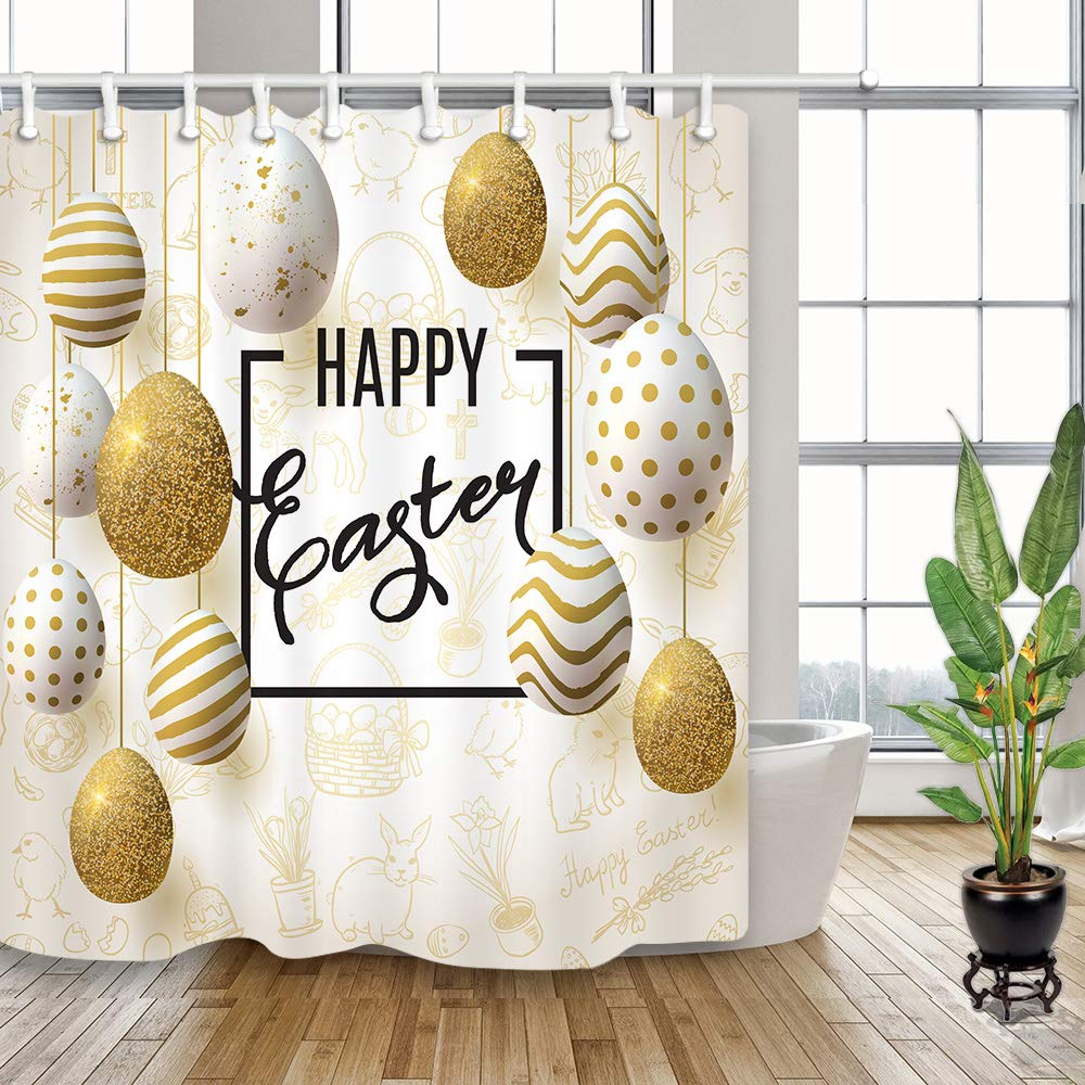 NYMB Spring Festival Happy Easter Animals Shower Curtain with