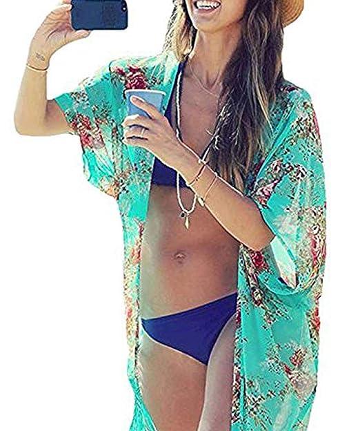 c3130cc4ea0 Yonala Summer Womens Beach Wear Cover up Swimwear Beachwear Bikini,One  Size,Green