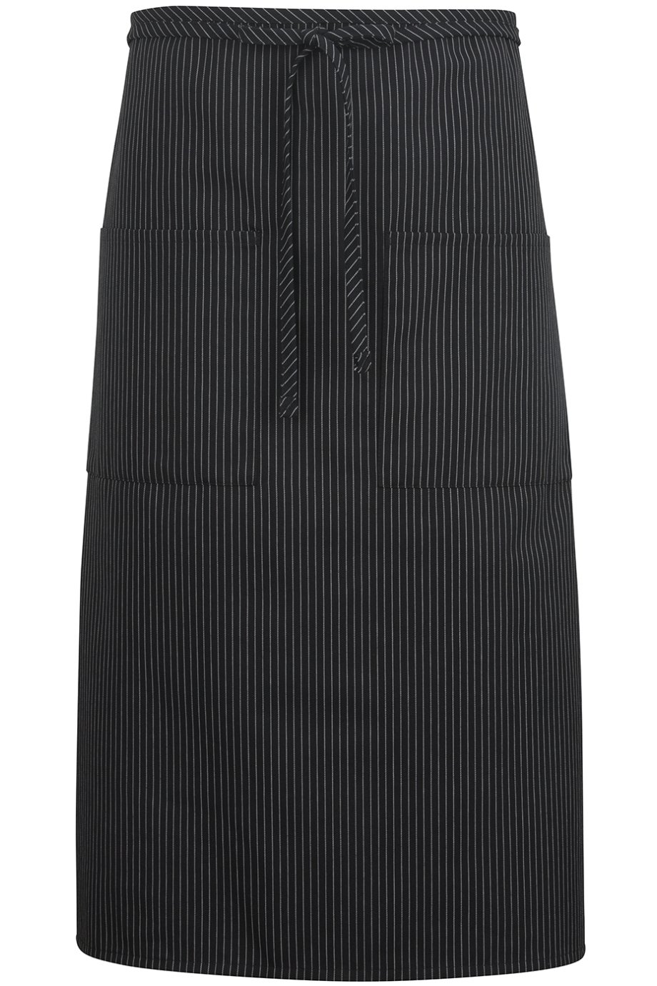 Edwards 2-Pocket Long Bistro Apron, Black Stripe, 0