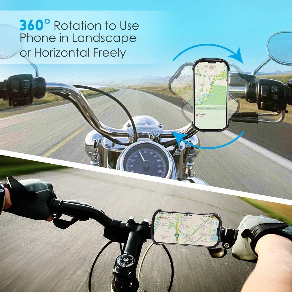 Rule Bike Phone Mount Anti Shake and Stable Cradle Clamp with 360° Rotation Bicycle Phone Mount/Bike Accessories/Bike Phone Holder for iPhone Android GPS Other Devices Between 3.5 to 6.5 inches