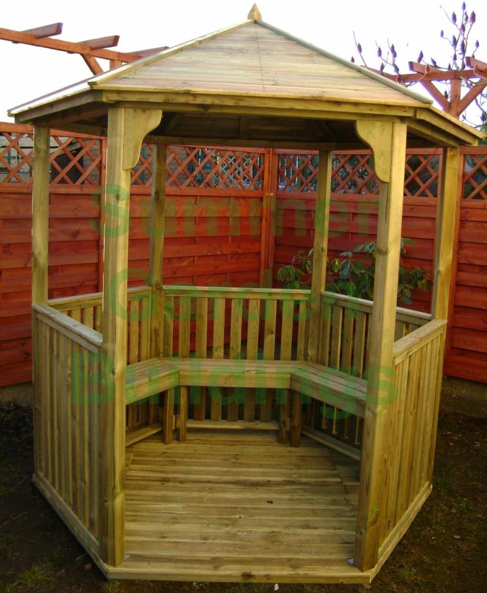 7 x 6 abierto jardín Gazebo Hexagonal de madera – Madera Tratada A ...