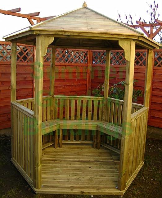 7 x 6 abierto jardín Gazebo Hexagonal de madera – Madera Tratada A Presión, listones de techo: Amazon.es: Jardín